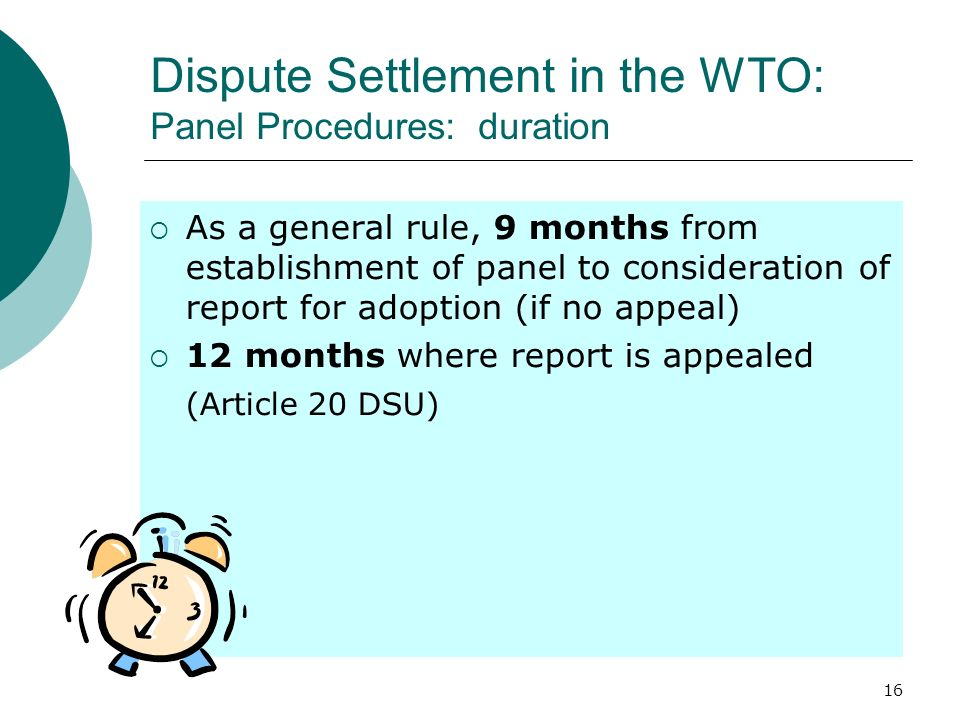 Dispute Settlement in the WTO: Panel Procedures: duration