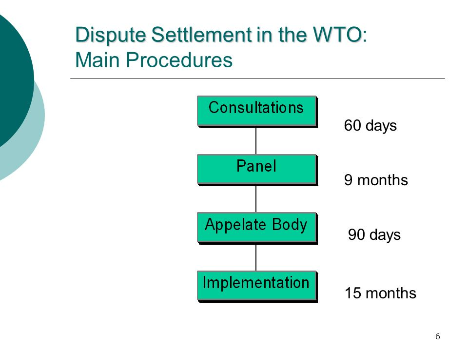 Dispute Settlement in the WTO: Main Procedures