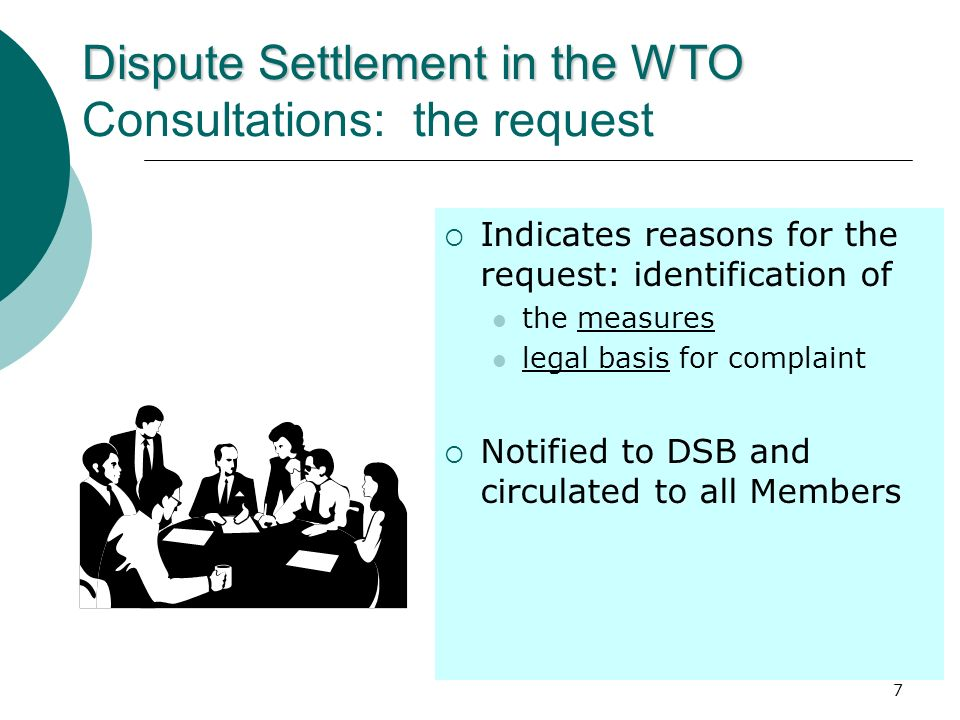 Dispute Settlement in the WTO Consultations: the request