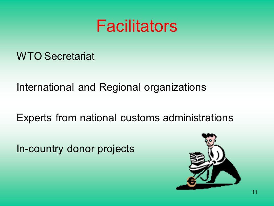Facilitators WTO Secretariat International and Regional organizations