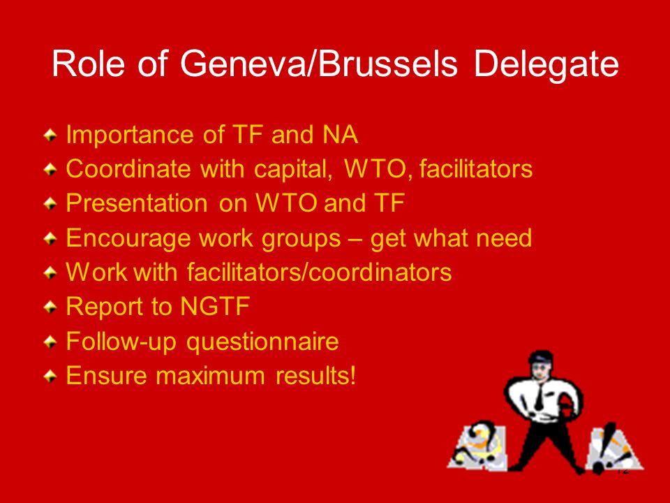 Role of Geneva/Brussels Delegate