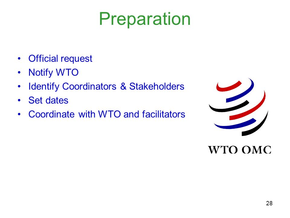 Preparation Official request Notify WTO