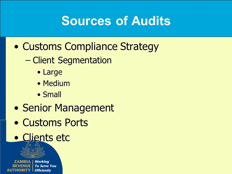 Sources of Audits Customs Compliance Strategy Senior Management
