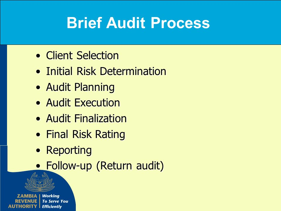 Brief Audit Process Client Selection Initial Risk Determination