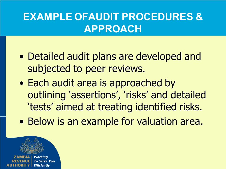 EXAMPLE OFAUDIT PROCEDURES & APPROACH