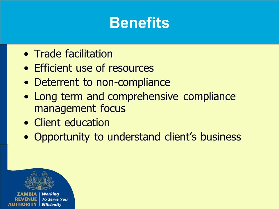 Benefits Trade facilitation Efficient use of resources