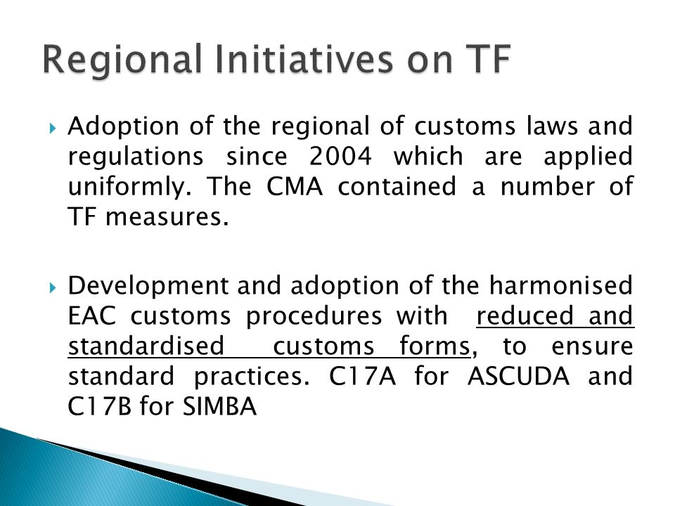 Regional Initiatives on TF