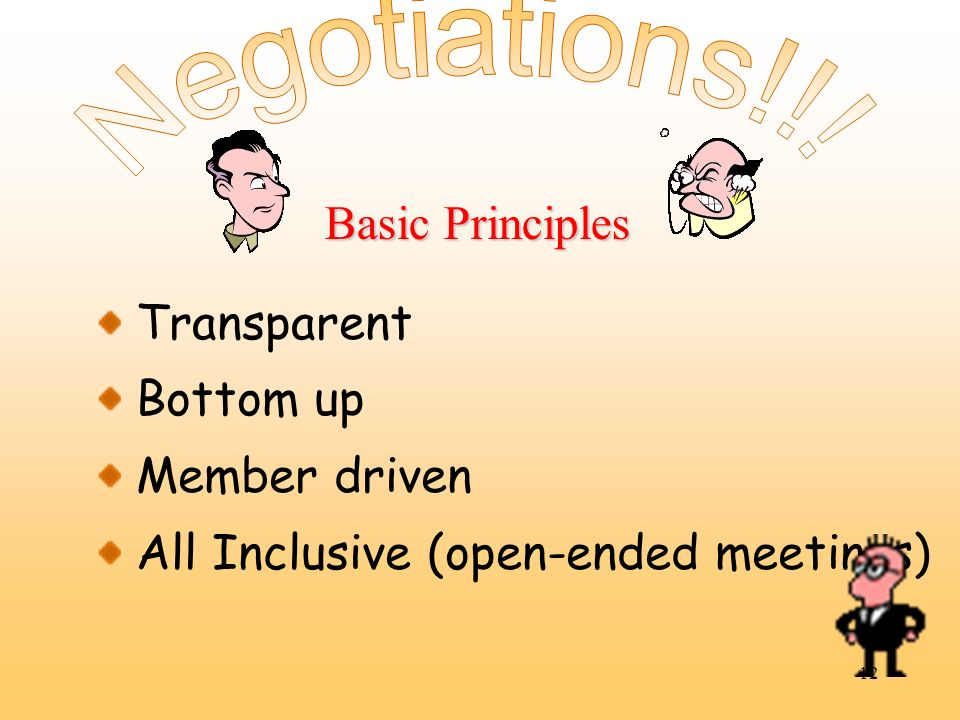 Negotiations!!. Basic Principles. Transparent. Bottom up.