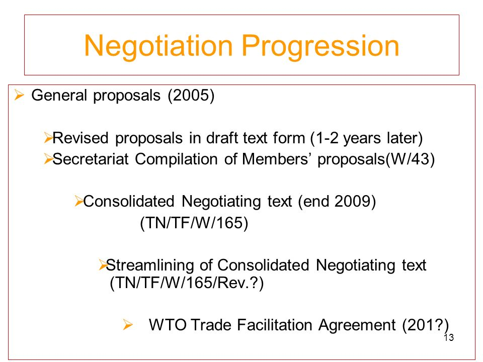 Negotiation Progression