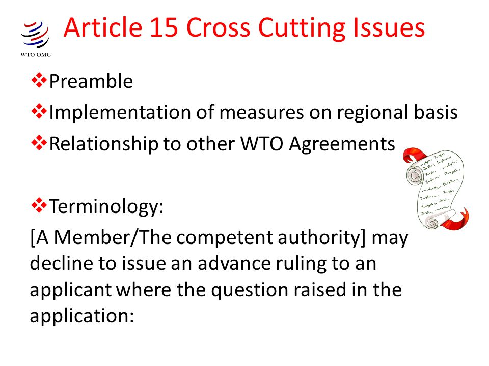 Article 15 Cross Cutting Issues