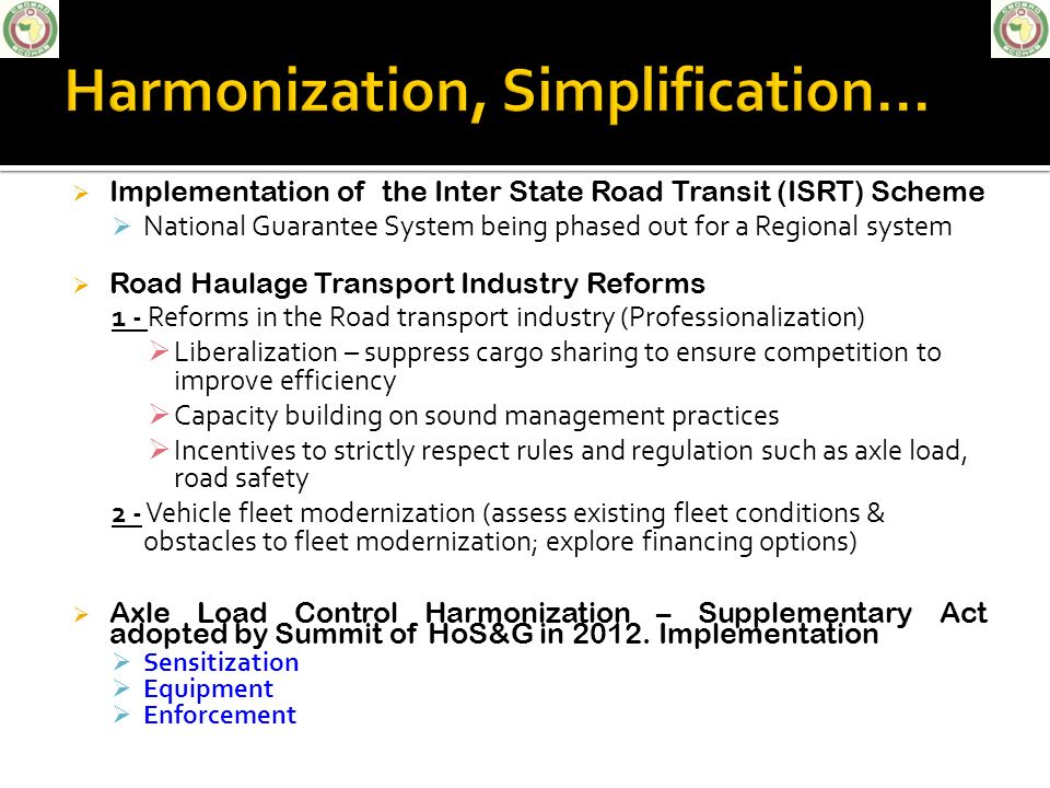 Harmonization, Simplification...