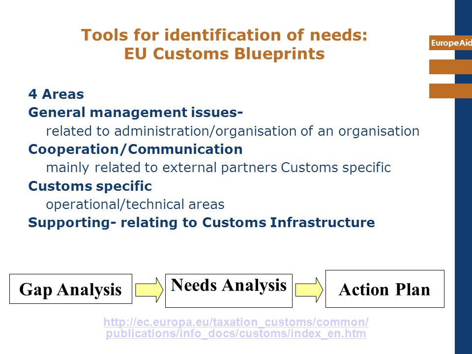 Tools for identification of needs: EU Customs Blueprints