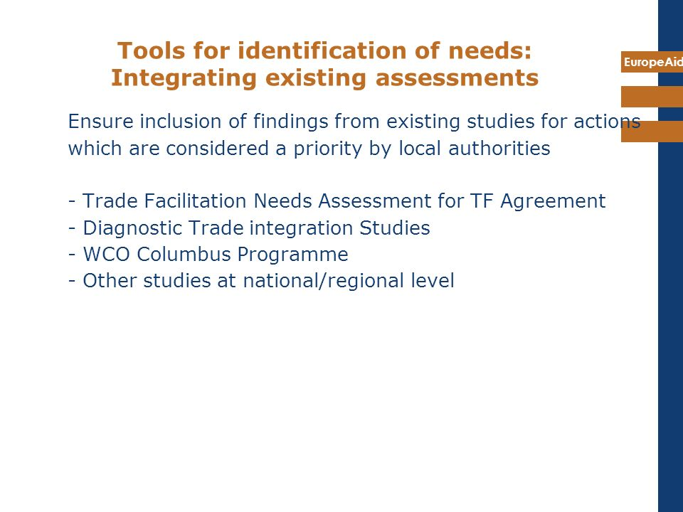 Tools for identification of needs: Integrating existing assessments