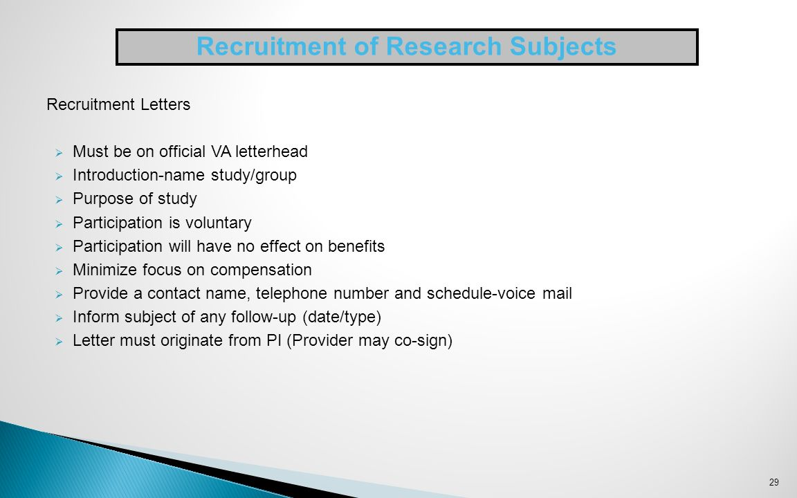 Policy and Guidance on Recruiting Study Subjects (DOC)