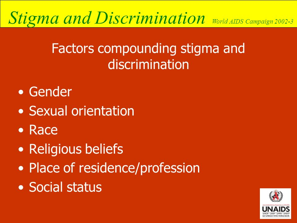 Factors compounding stigma and discrimination