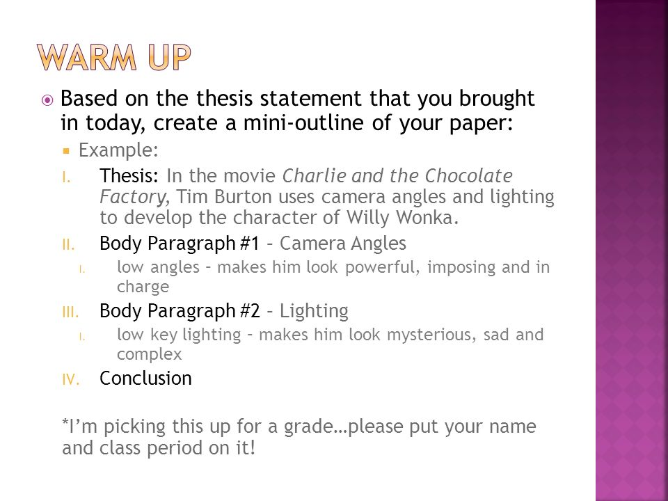thesis statement for film paper What is a thesis a thesis statement declares what you believe and what can the thesis be adequately developed in the required length of the paper or.