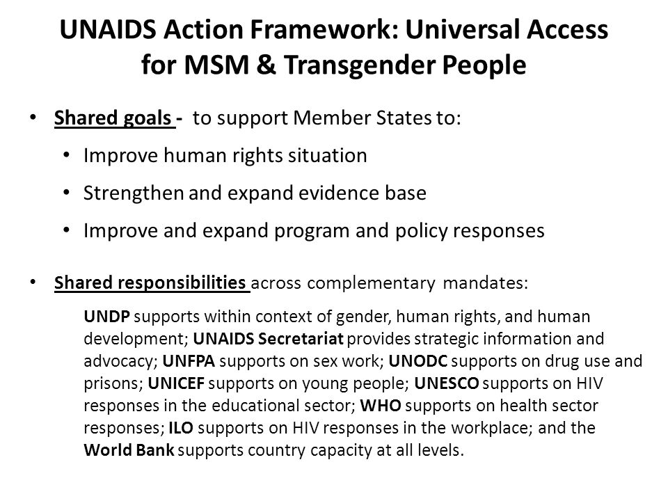 UNAIDS Action Framework: Universal Access for MSM & Transgender People