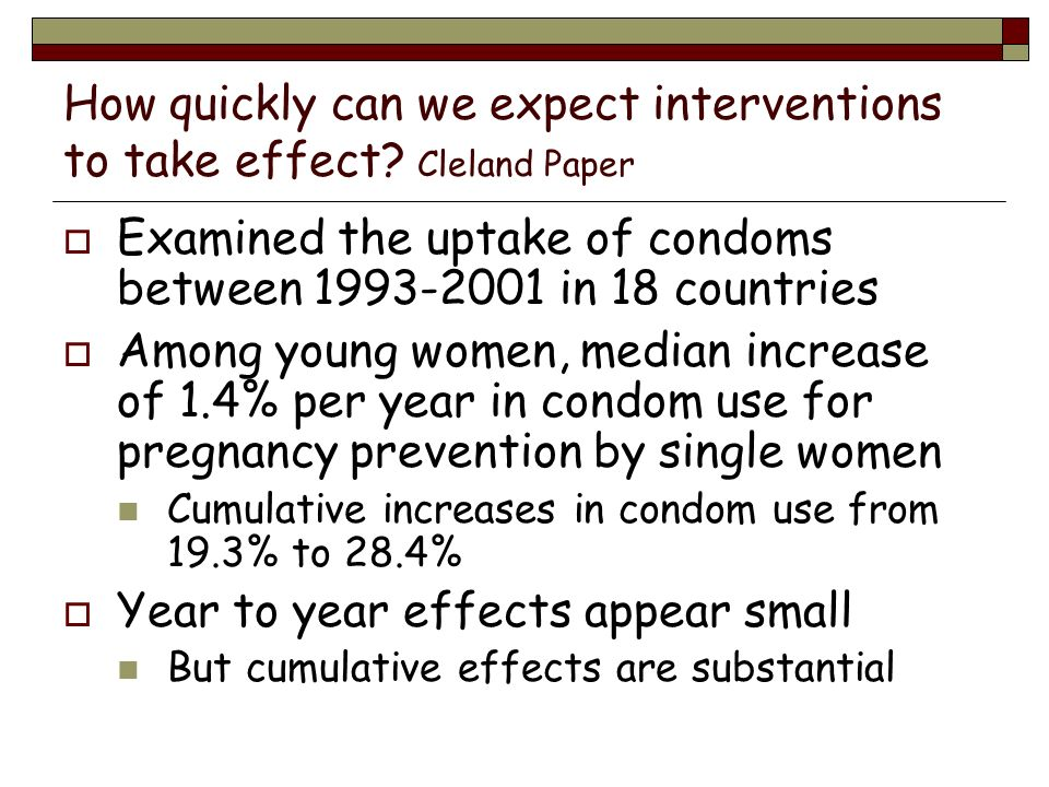 How quickly can we expect interventions to take effect Cleland Paper