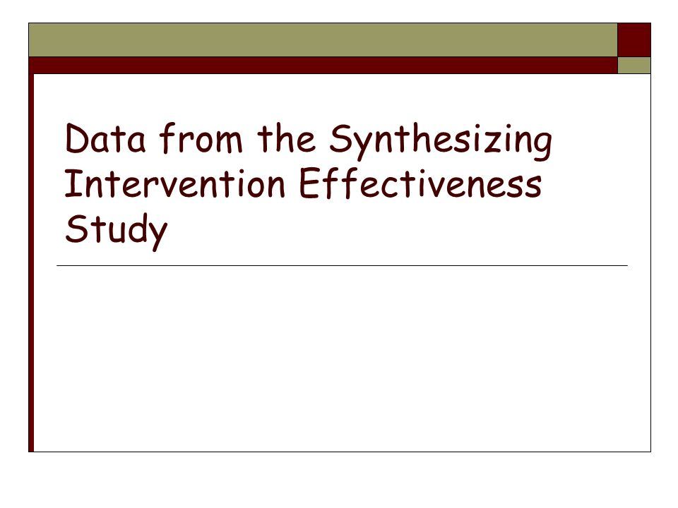 Data from the Synthesizing Intervention Effectiveness Study