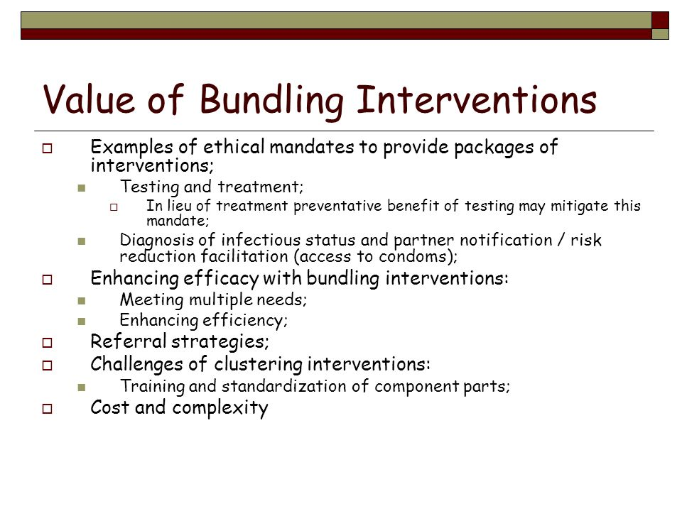 Value of Bundling Interventions