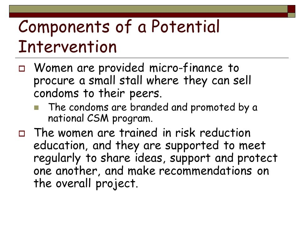 Components of a Potential Intervention