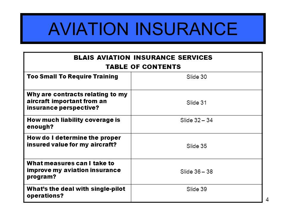 the value of aviation insurance Understand how aviation insurance is sold aviation policies are underwritten and backed by  if you place a low value on the aircraft and it suffers.