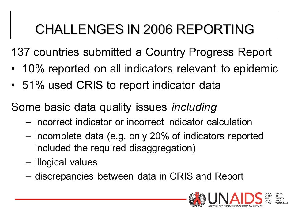 CHALLENGES IN 2006 REPORTING
