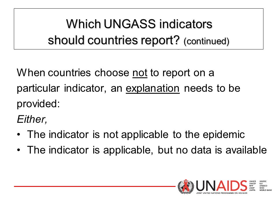Which UNGASS indicators should countries report
