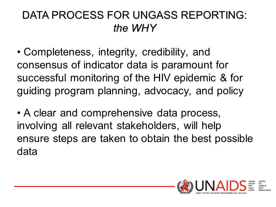 DATA PROCESS FOR UNGASS REPORTING: