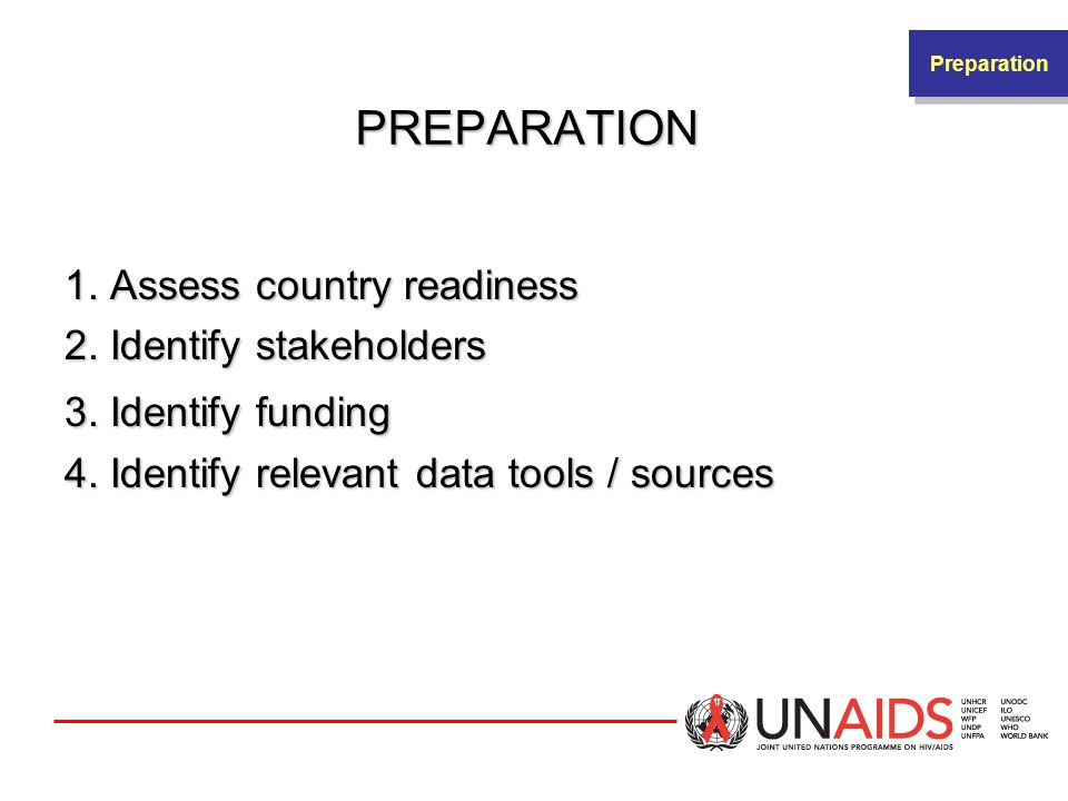 PREPARATION 1. Assess country readiness 2. Identify stakeholders