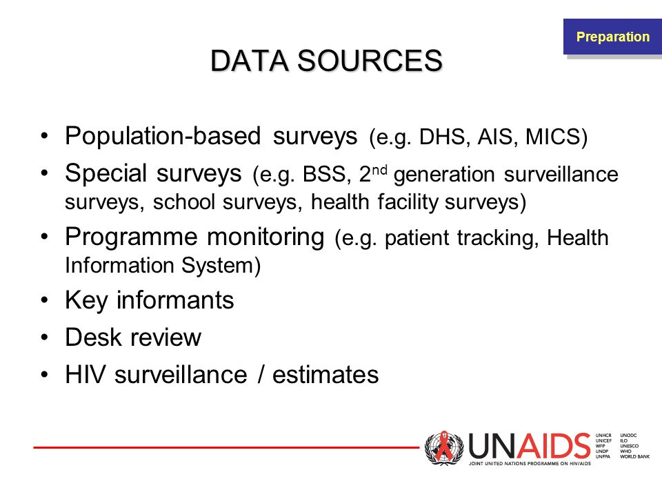 DATA SOURCES Population-based surveys (e.g. DHS, AIS, MICS)