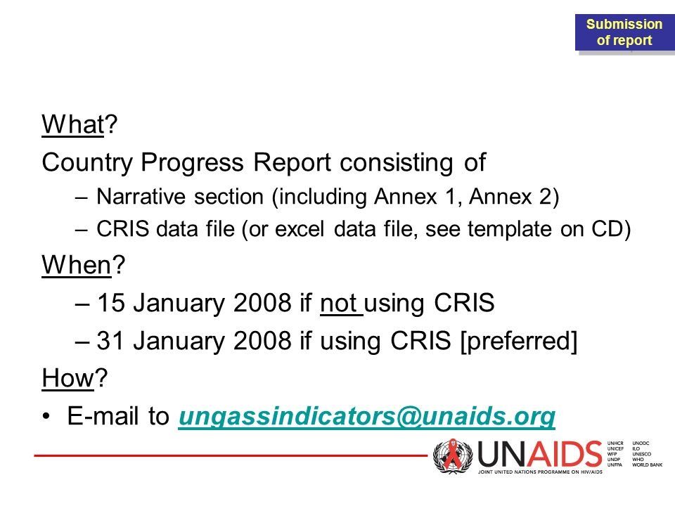 SUBMISSION PROCESS What Country Progress Report consisting of When