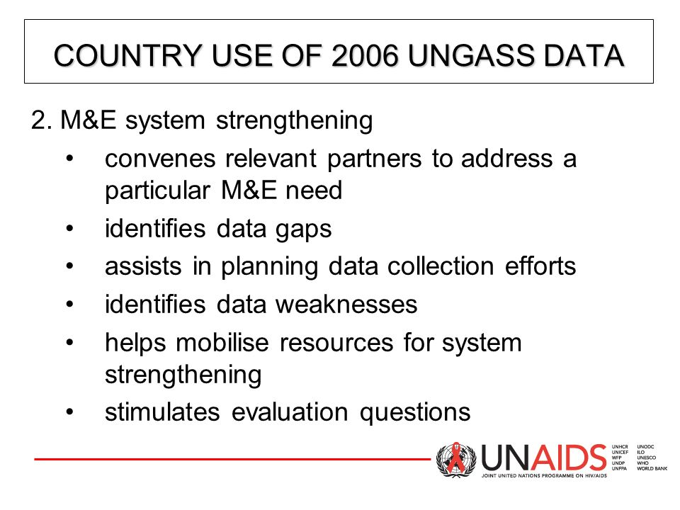 COUNTRY USE OF 2006 UNGASS DATA