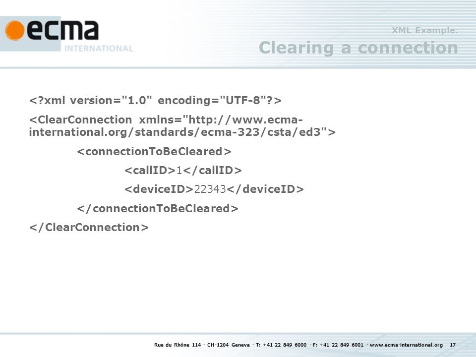 XML Example: Clearing a connection