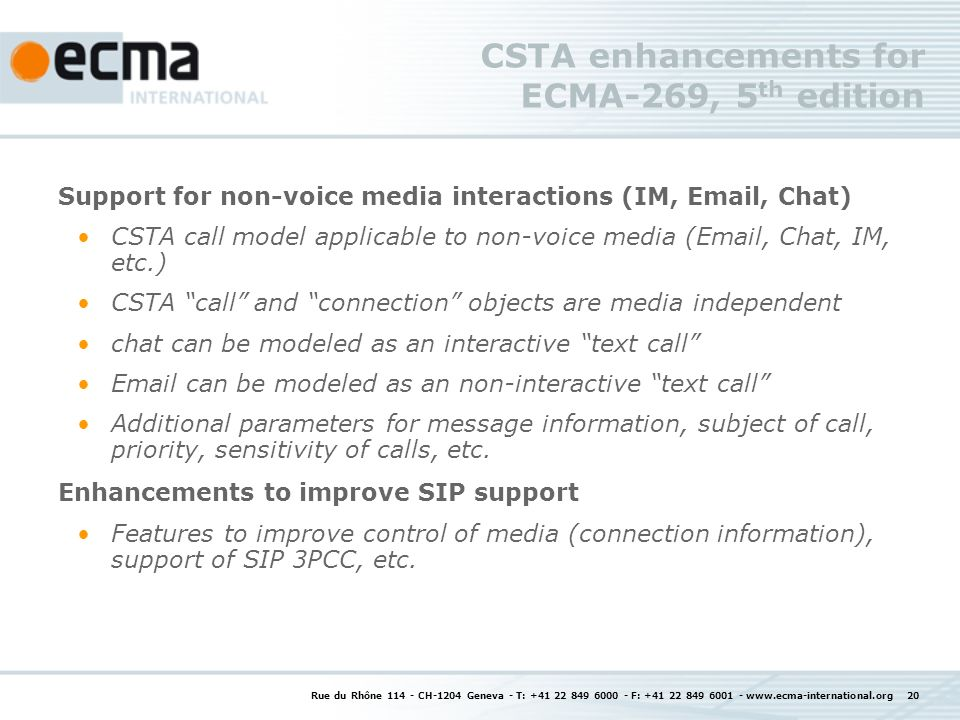 CSTA enhancements for ECMA-269, 5th edition