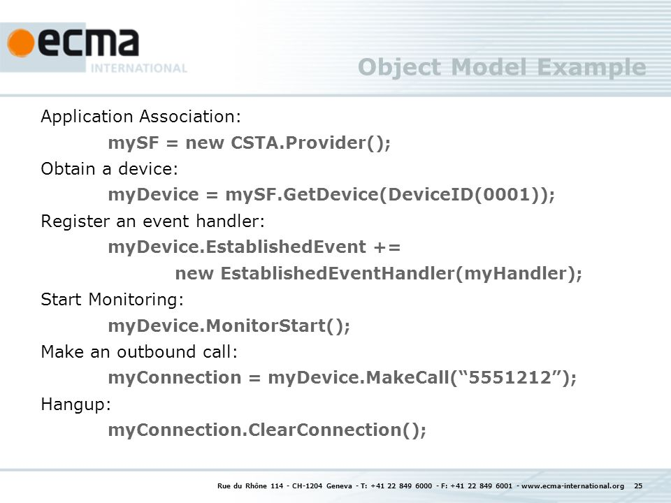 Object Model Example Application Association: