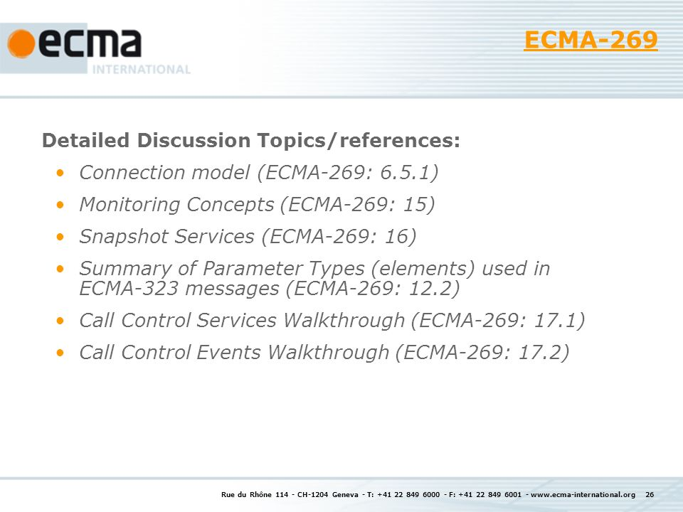 ECMA-269 Detailed Discussion Topics/references: