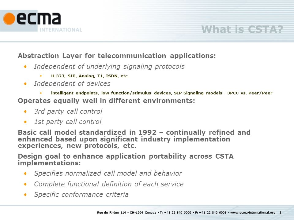 What is CSTA Abstraction Layer for telecommunication applications: