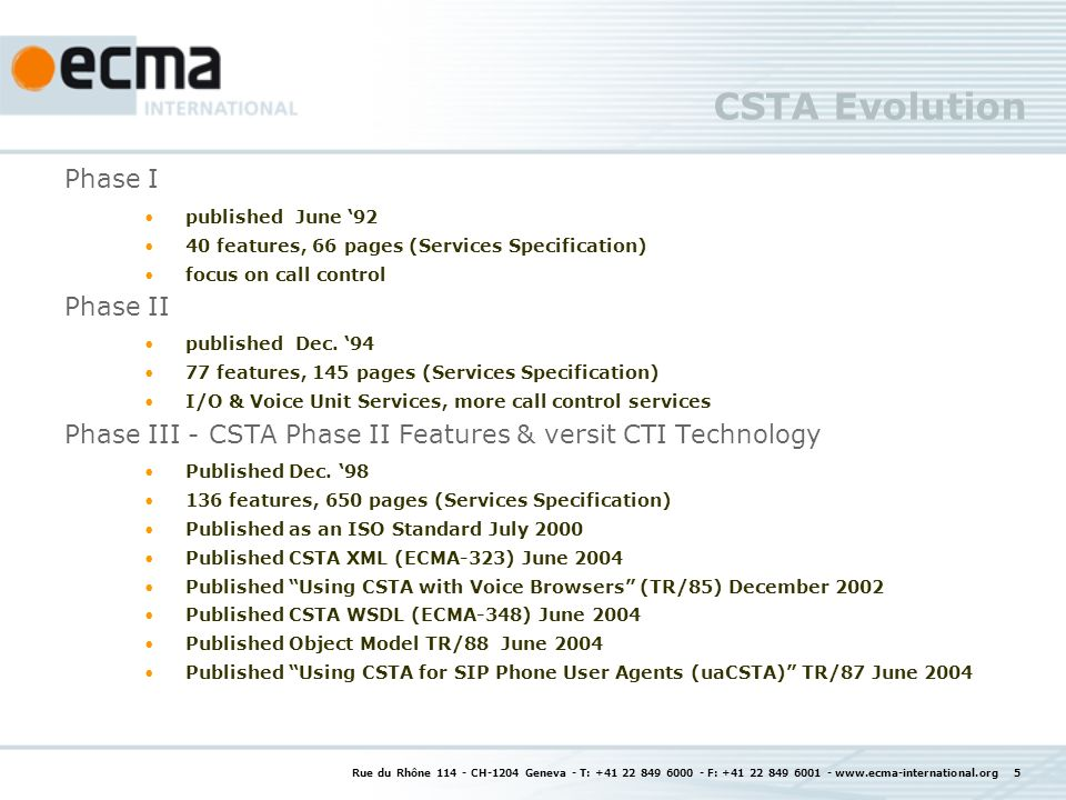 CSTA Evolution Phase I Phase II