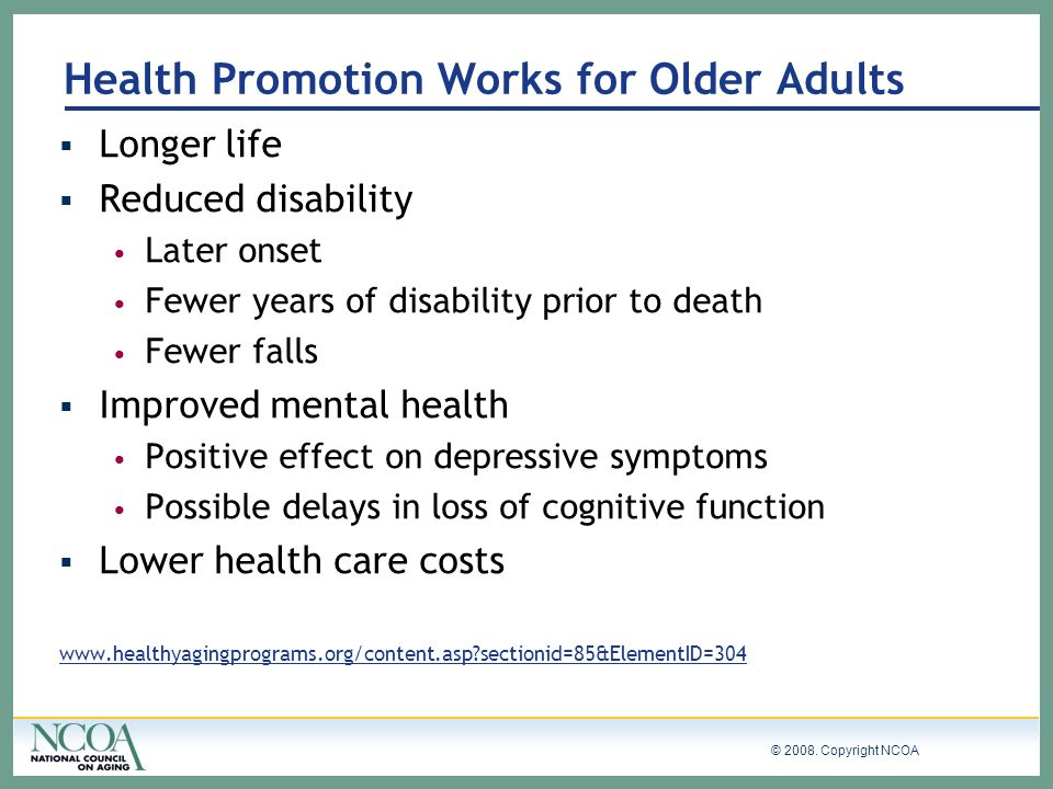 Health Promotion Works for Older Adults