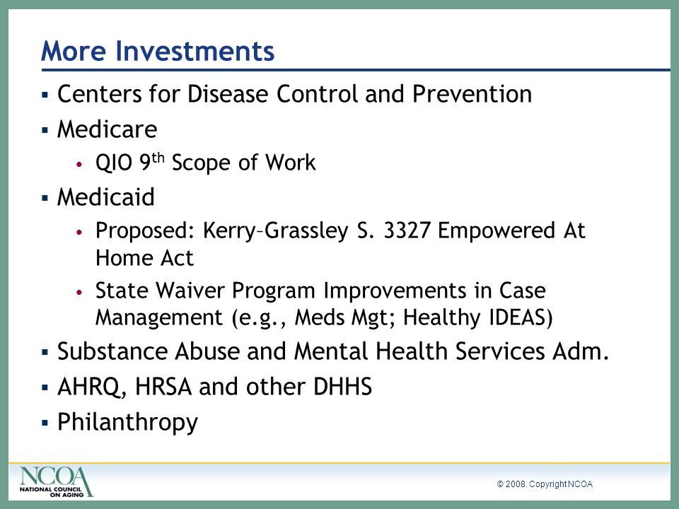 More Investments Centers for Disease Control and Prevention Medicare