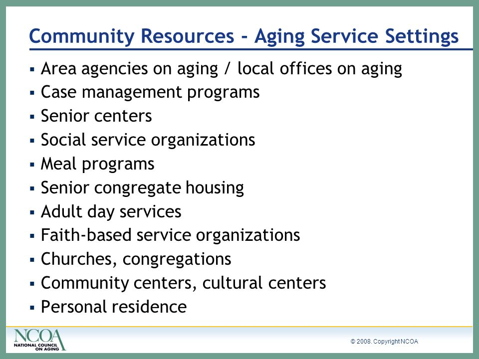 Community Resources - Aging Service Settings