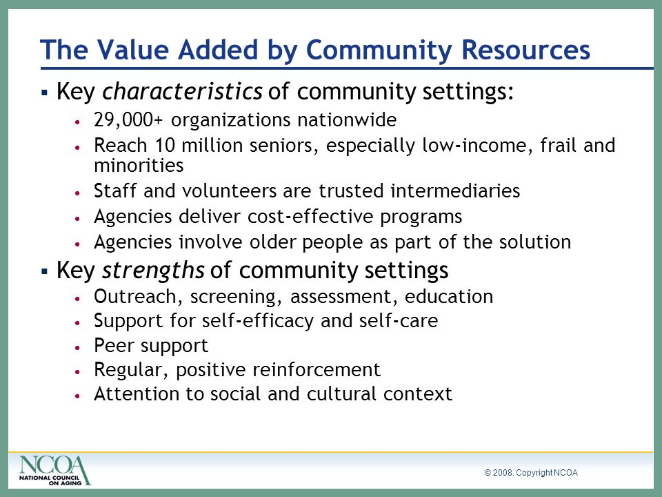 The Value Added by Community Resources