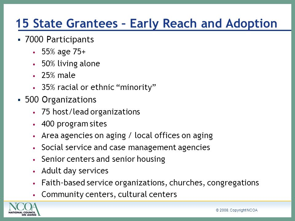 15 State Grantees – Early Reach and Adoption