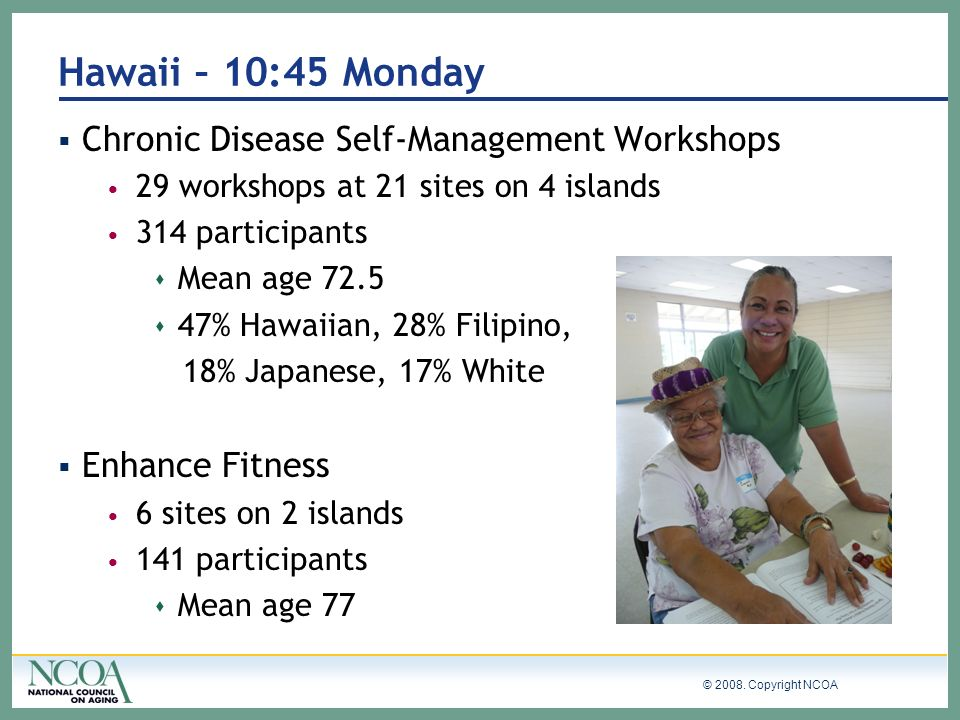 Hawaii – 10:45 Monday Chronic Disease Self-Management Workshops
