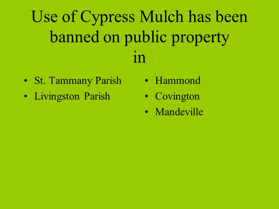 Use of Cypress Mulch has been banned on public property in