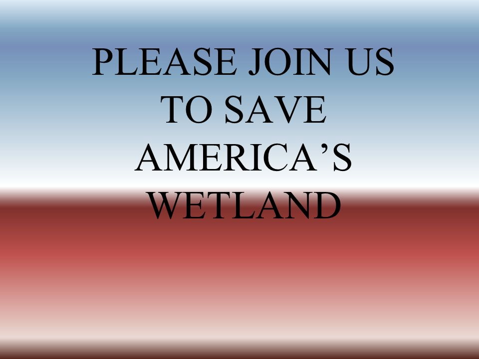 PLEASE JOIN US TO SAVE AMERICA'S WETLAND