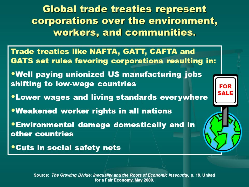Global trade treaties represent corporations over the environment, workers, and communities.