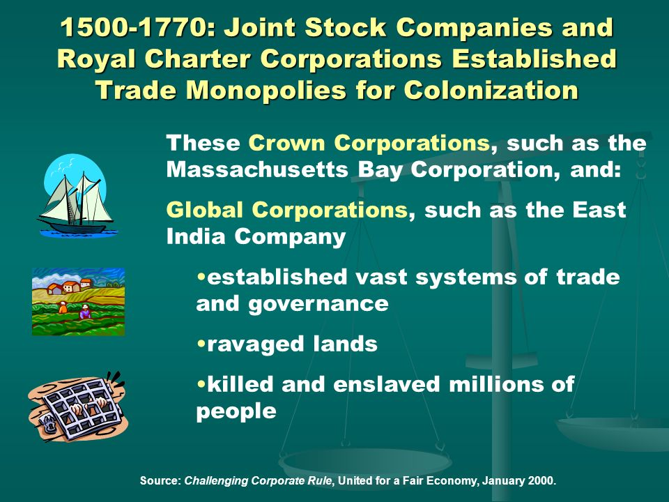 1500-1770: Joint Stock Companies and Royal Charter Corporations Established Trade Monopolies for Colonization