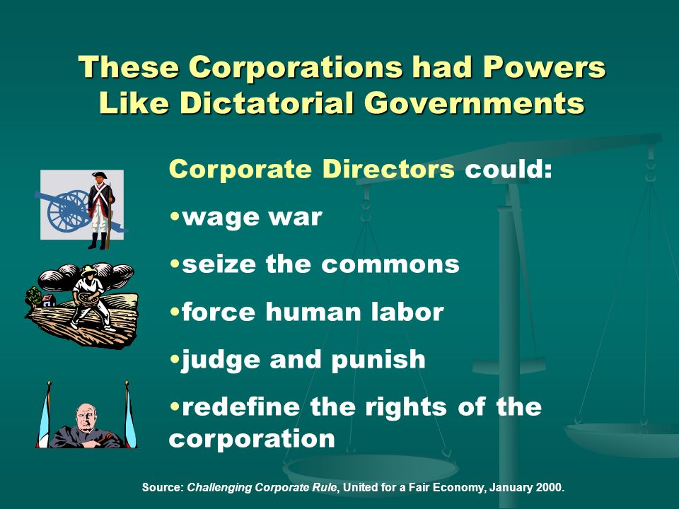 These Corporations had Powers Like Dictatorial Governments